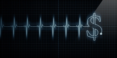 Horizontal Pulse Trace Heart Monitor with a dollar sign in line. Stock Photo