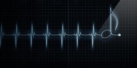 battement du coeur: Horizontal cardiofr�quencem�tre C?ur Trace avec note de musique en ligne.