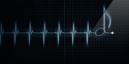 heart rate: Horizontal Pulse Trace Heart Monitor with music note in line. Stock Photo