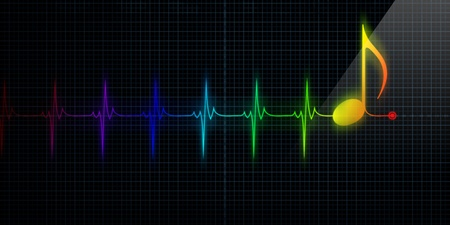 notation: Horizontal Pulse Trace Heart Monitor with colorful music note in line. Stock Photo