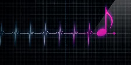 puls: Poziomy Ślad Pulse monitor pracy serca z różowego notatki muzyki w wierszu.