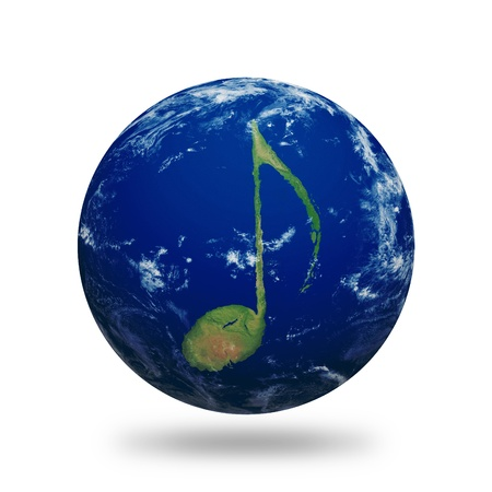 Planet Earth with music note shaped continents and clouds.