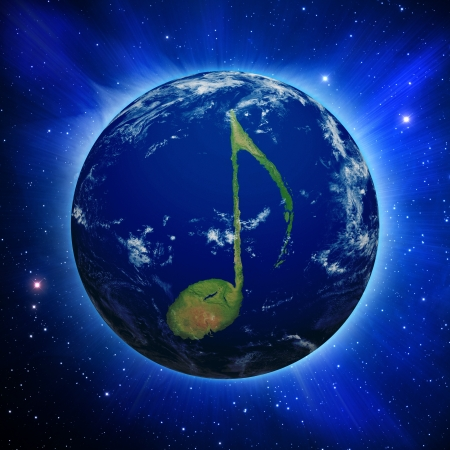 Planet Earth with music note shaped continents and clouds over a starry sky.