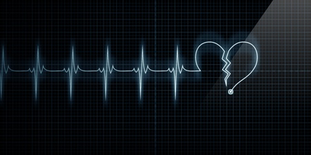 Horizontal Pulse Trace Heart Monitor with the symbol of a broken heart in line with the pulse. Concept for broken heart or heart attack. Stock Photo - 10444969