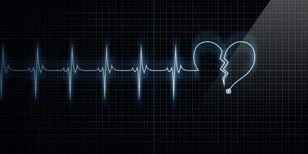 corazon roto: Horizontal pulso traza corazón Monitor con el símbolo de un corazón roto en consonancia con el pulso. Concepto de corazón roto o ataque al corazón.