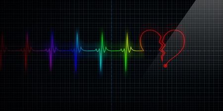 가로 펄스 추적 심장 모니터 펄스와 라인에 다채로운 실의 기호로. 깨진 된 심장 또는 심장 마비에 대 한 개념입니다. 스톡 콘텐츠 - 10444968