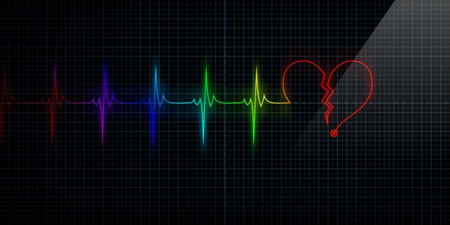 Horizontal Pulse Trace Heart Monitor with the symbol of a colorful broken heart in line with the pulse. Concept for broken heart or heart attack. Stock Photo - 10444968