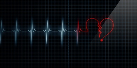 Horizontal Pulse Trace Heart Monitor with the symbol of a red broken heart in line with the pulse. Concept for broken heart or heart attack.