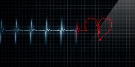 attacco cardiaco: Orizzontale Pulse traccia cuore Monitor con il simbolo di un cuore spezzato rosso in linea con il polso. Concetto per il cuore spezzato o infarto. Archivio Fotografico