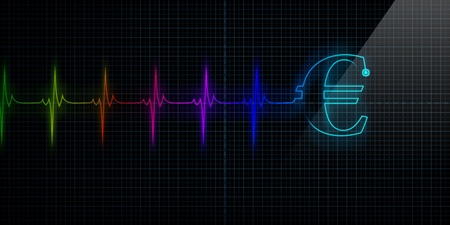Colorful Horizontal Pulse Trace Heart Monitor with a Euro symbol in line.