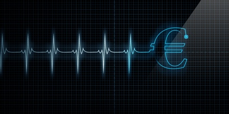 Horizontal Pulse Trace Heart Monitor with a blue Euro symbol in line.