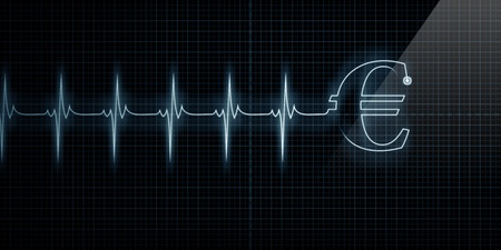 Horizontal Pulse Trace Heart Monitor with a Euro symbol in line.