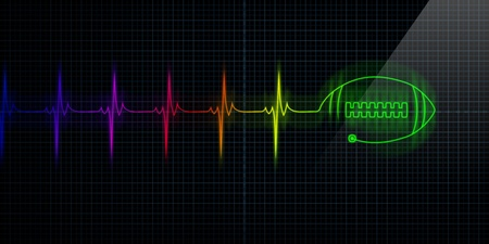 Colorful Horizontal Pulse Trace Heart Monitor with a football in line. Concept for sports medicine, football fans, or die-hard football players.