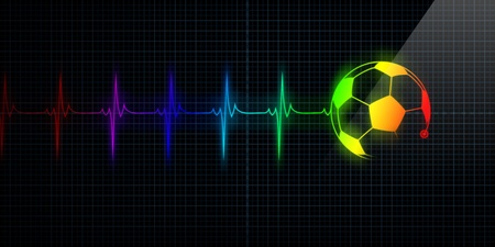Colorful Horizontal Pulse Trace Heart Monitor with a soccer ball in line. Concept for sports medicine, soccer players, or die-hard soccer fans.