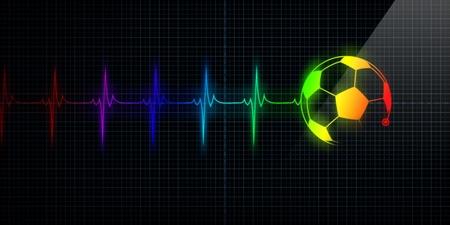 puls: Kolorowych poziomych impuls śledzenia Heart Monitor z piłki futbolowej w wierszu. Koncepcja sports medicine, piłkarze lub kibiców piłka die-hard.