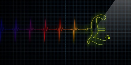 Colorful Horizontal Pulse Trace Heart Monitor with a Pound symbol in line. Stock Photo