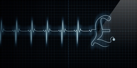 Horizontal Pulse Trace Heart Monitor with a Pound symbol in line. Stock Photo