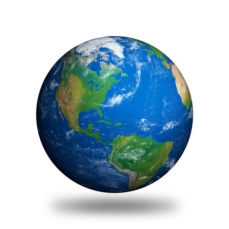 Planet Earth showing North America isolated on white. photo