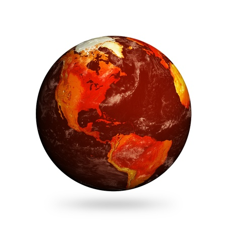 Planet Earth and global warming showing North America isolated against white.