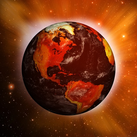 Planet Earth and global warming showing North America against a dynamic star field.
