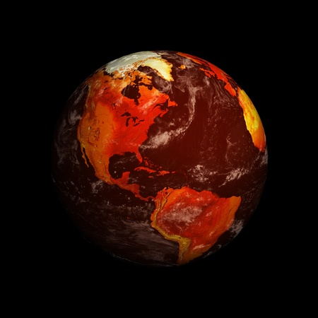 Planet Earth and global warming showing North America against black. Stock Photo