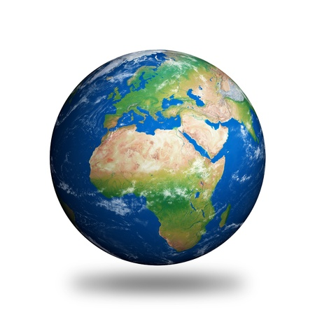 Isolated Planet Earth showing Europe and Africa against white background.  Standard-Bild