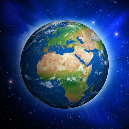 europe: Planet Earth showing Europe and Africa against a dynamic star field. Stock Photo