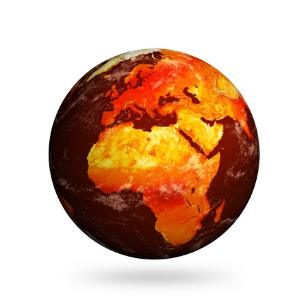 Planet Earth and global warming showing Europe and Africa isolated against white.Clouds and land textures from http://shadedrelief.com. Banco de Imagens - 10590950