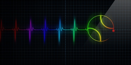 Colorful Horizontal Pulse Trace Heart Monitor with a baseball in line. Concept for sports medicine, baseball players, or die-hard baseball fans. Banco de Imagens