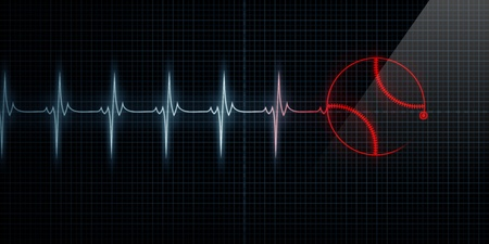 Red Horizontal Pulse Trace Heart Monitor with a baseball in line. Concept for sports medicine, baseball players, or die-hard baseball fans. Stock Photo
