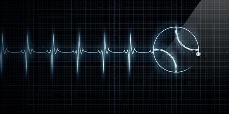 가로 펄스 추적 심장 라인 야구와 함께 모니터링합니다. 스포츠 의학, 야구 선수, 또는 다이 하드 야구 팬들을위한 개념. 스톡 콘텐츠 - 10637453