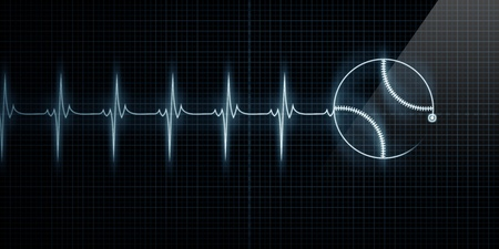 pulse trace: Horizontal Pulse Trace Heart Monitor with a baseball in line. Concept for sports medicine, baseball players, or die-hard baseball fans. Stock Photo