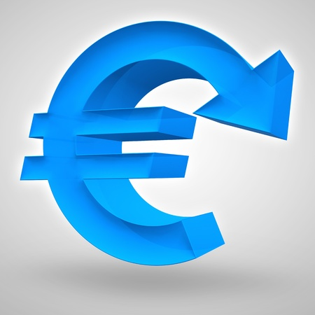 merged: Euro symbol merged with downward arrow. 3D render. Concept for weak and declining European currency or business and financial concept.