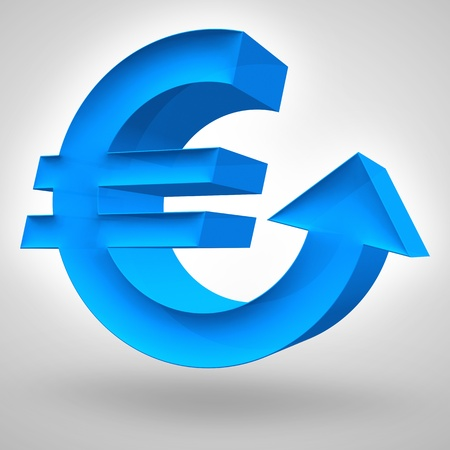 Euro symbol merged with up arrow. 3D render. Concept for strong and rising European currency or business and financial concept. Banco de Imagens