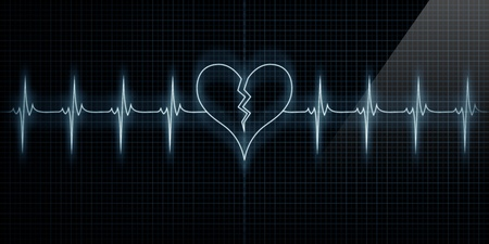 heart rate: Horizontal Pulse Trace Heart Monitor with the symbol of a broken heart in line with the pulse. Concept for broken heart or heart attack or love loss.
