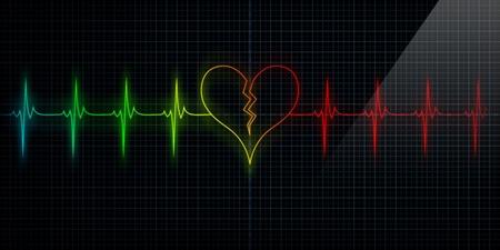 corazon roto: Multi-color traza horizontal del pulso del coraz�n del monitor con el s�mbolo de un coraz�n roto en consonancia con el pulso. Concepto para el coraz�n roto o un ataque al coraz�n o p�rdida amor.