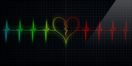 Multi-colored Horizontal Pulse Trace Heart Monitor with the symbol of a broken heart in line with the pulse. Concept for broken heart or heart attack or love loss. Stock Photo - 10684765