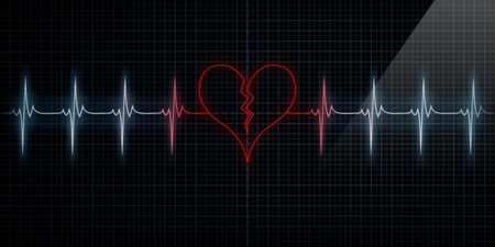 Red Horizontale Pulse Trace Heart Monitor met het symbool van een gebroken hart in lijn met de pols. Concept voor gebroken hart of een hartaanval of liefde verlies. Stockfoto
