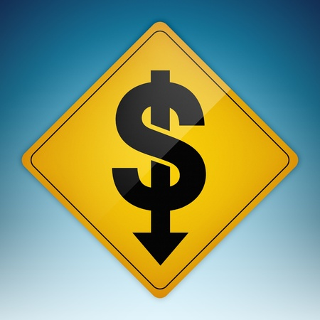 Yellow road sign with dollar symbol shaped path pointing down. Stock Photo