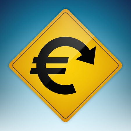 Yellow road sign with Euro symbol shaped path pointing down.