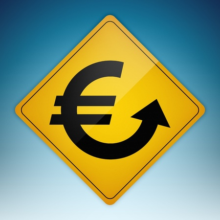 Yellow road sign with Euro symbol shaped path pointing up. Stock Photo