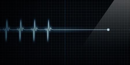 battement du coeur: Horizontal cardiofr�quencem�tre Pulse Trace A la mort