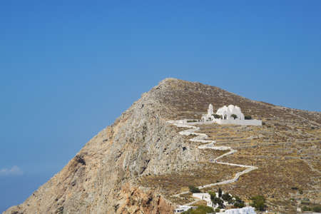 chora: The Church of Panagia in Chora, Folegandros Cyclades  Stock Photo