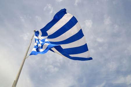 Huge Greek flag waving in the air force