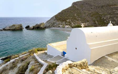 chora: Beach in Agios Nikolaos church in Folegandros island