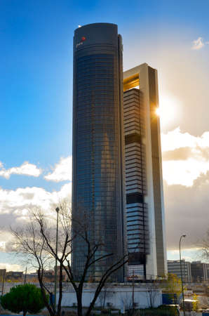 MADRID, SPAIN - DECEMBER 26, 2013  Four Towers Business Area  CTBA  in Madrid, Spain  The photo shows two of the four towers  Bankia Tower and the PwC Tower