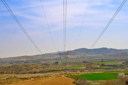 Linie elektryczne przechodzące przez pola na obszarach wiejskich Zdjęcie Seryjne