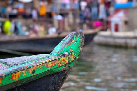 ganges: Old wooden boat, sailing on the river Ganges  Varanasi, India