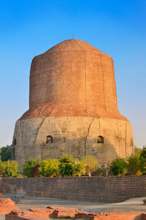 stupa one: Dhamek Stupa is one of the prominent Buddhist structures in India  Sarnath, Varanasi  Stock Photo