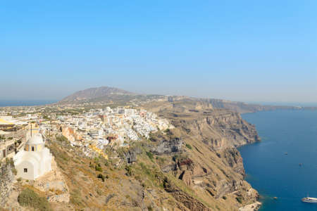 fira: View of Fira and caldera in Santorini island